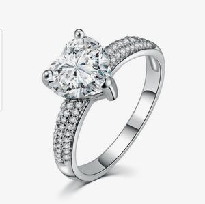 New big heart stone 3 carat crystal ring ss925